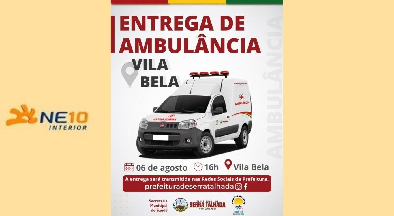 Entrega de ambulância será realizada em Serra Talhada