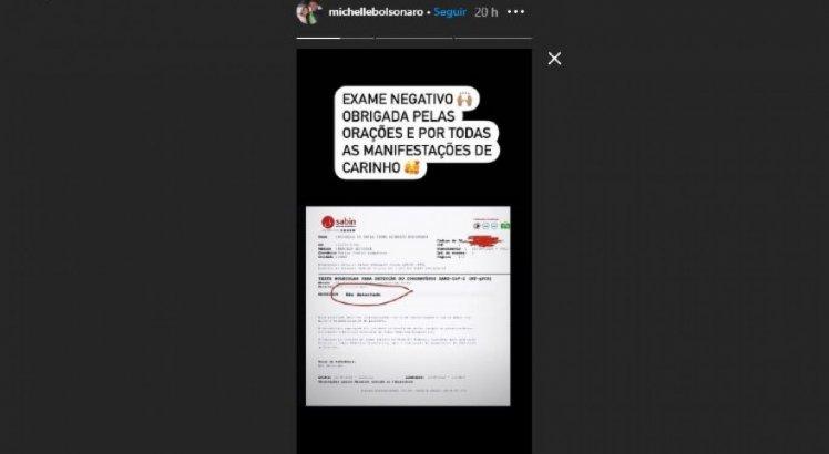 Resultado foi publicado na conta do Instagram de Michelle Bolsonaro