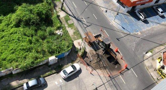 Vazamento de gás em obra interdita trânsito em Boa Viagem