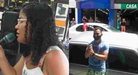 Jovem canta música de Whitney Houston em loja na Rua da Concórdia, no Recife, e viraliza