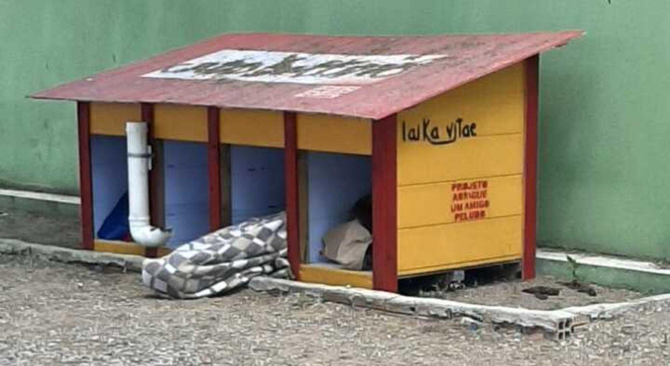 Morador de rua dorme em casa de cachorro