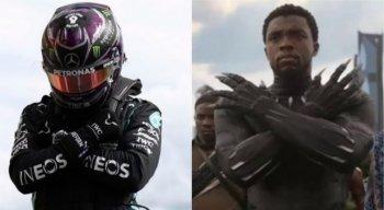 Lewis Hamilton fez gesto em homenagem ao intérprete do Pantera Negra, herói negro dos quadrinhos e do cinema
