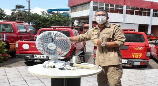 Nunca use ventilador sem a parte protetora da frente, alerta Corpo de Bombeiros