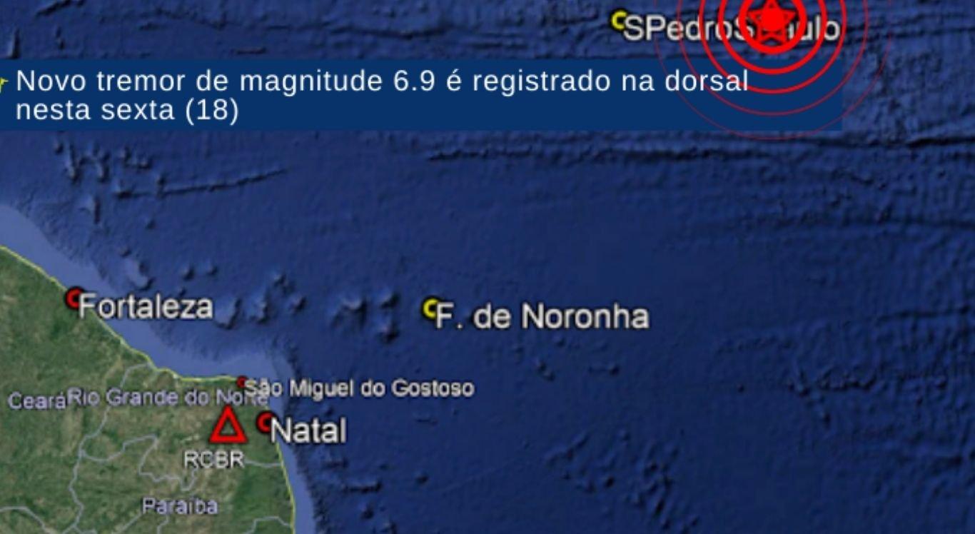 O terremoto foi computado por volta das 21h40, desta sexta-feira (18)