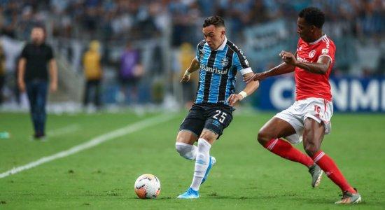 Internacional e Grêmio na tela da TV Jornal/SBT pela Libertadores 2020