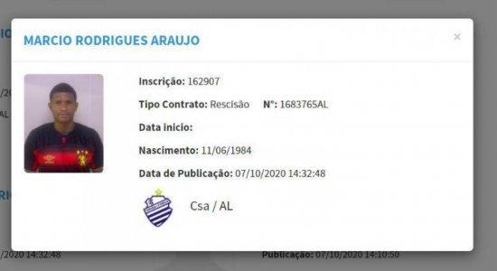 Rescisão contratual de Márcio Araújo com o CSA publicada no BID, tem foto do jogador com camisa do Sport