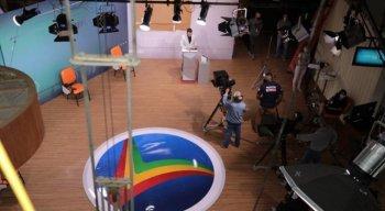 Ensaio para o debate entre os candidatos à Prefeitura do Recife, na TV Jornal