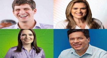 João Campos, Marília Arraes, Delegada Patrícia e Mendonça Filho, candidatos à Prefeitura do Recife nas eleições 2020