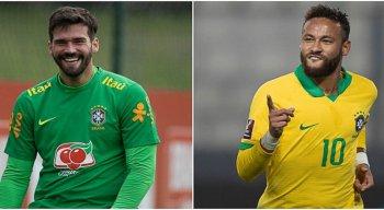 Goleiro Alisson e atacante Neymar pelo Brasil