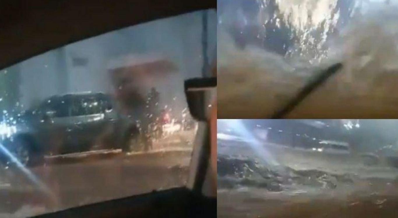 O vídeomostra ondas batendo no para-brisa do veículo em que motorista mineiro estava conduzindo
