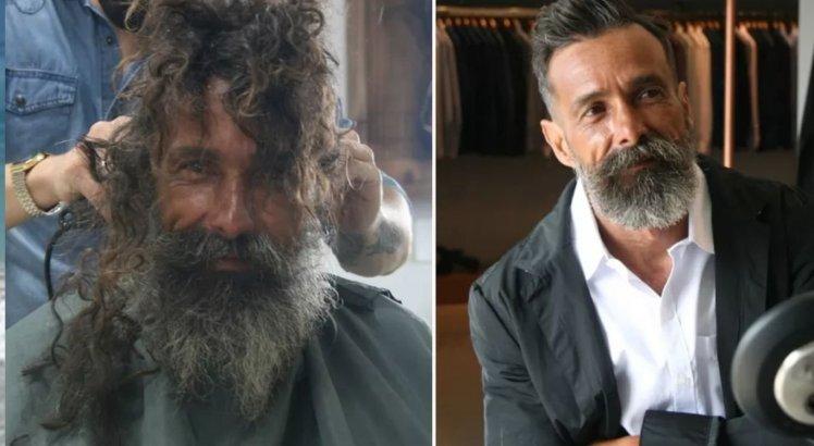 João fez barba, cabelo e bigode, bem como ainda ganhou um paletó, três camisas, uma calça e um sapato