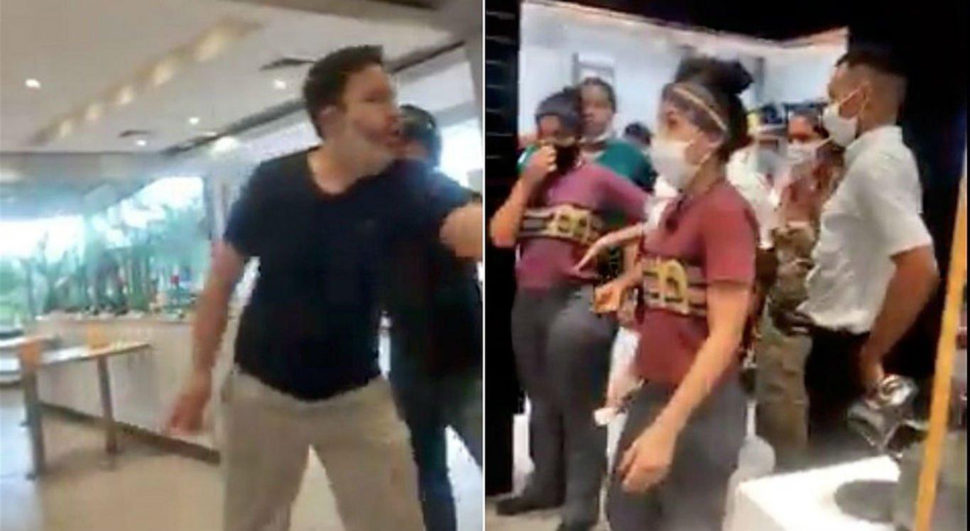O cliente grita com os funcionários porque não tinha ketchup
