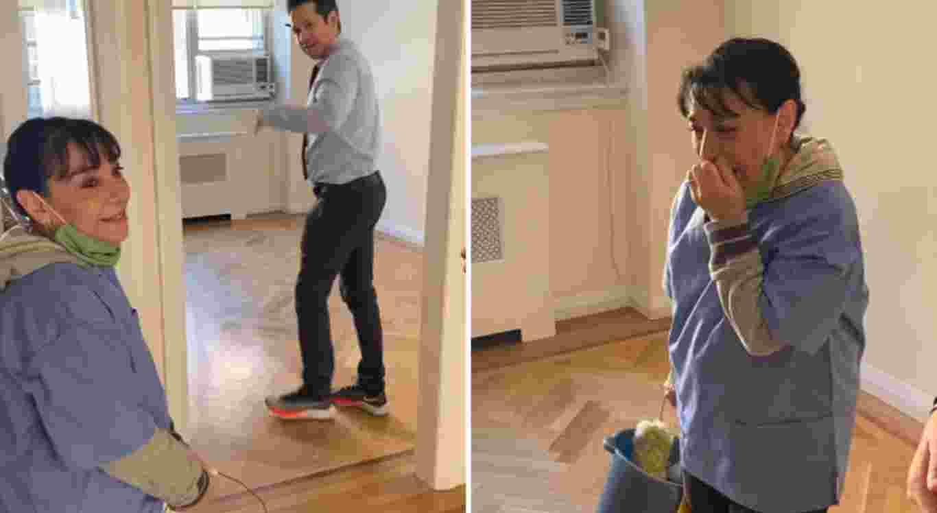 Rosa foi surpreendida pelos moradores do prédio