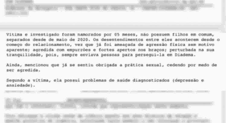 Boletim de ocorrência contra Lucas Penteado