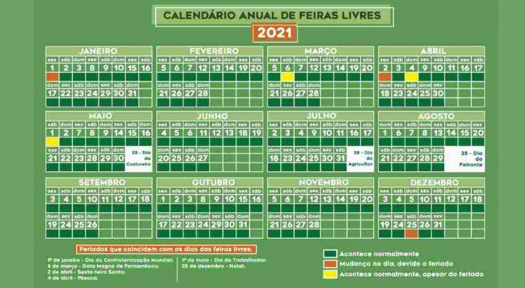 Calendário das feiras livres de Caruaru