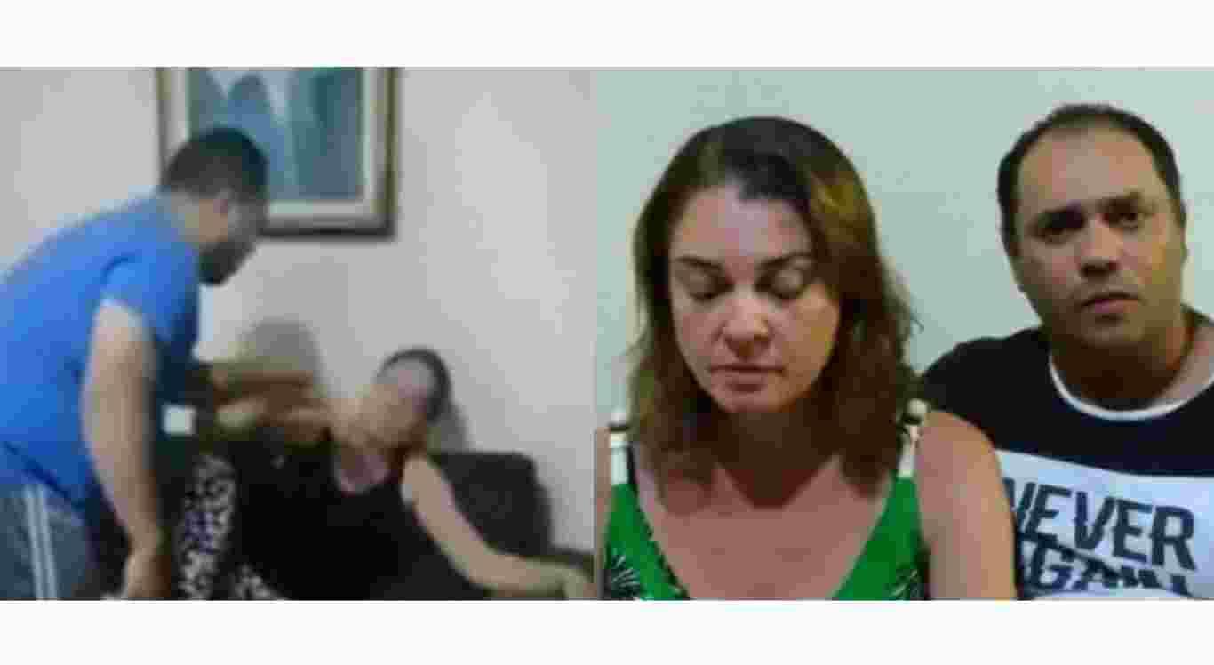 O pastor aparece nas imagens agredindo a esposa