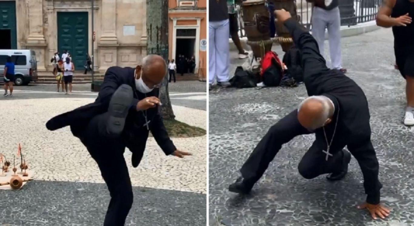 Arcebispo Dom Zanoni Demettino Castro gravou vídeo em roda de capoeira em Salvador