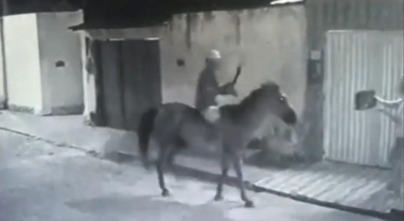 Vídeo mostra suspeito assaltando mulher montado a cavalo