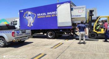 O avião com o imunizante vindo do Instituto Serum chegou nessa terça (23)