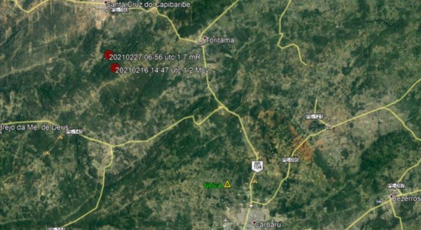 Mapa mostra cidades do Agreste atingidas por tremores de terra