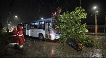 A frente do ônibus ficou destruída