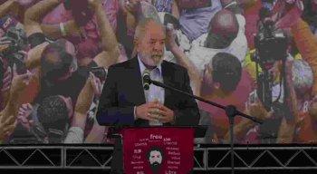 Luiz Inácio Lula da Silva, ex-presidente do Brasil, durante discurso no Sindicato dos Metalúrgicos, em São Paulo