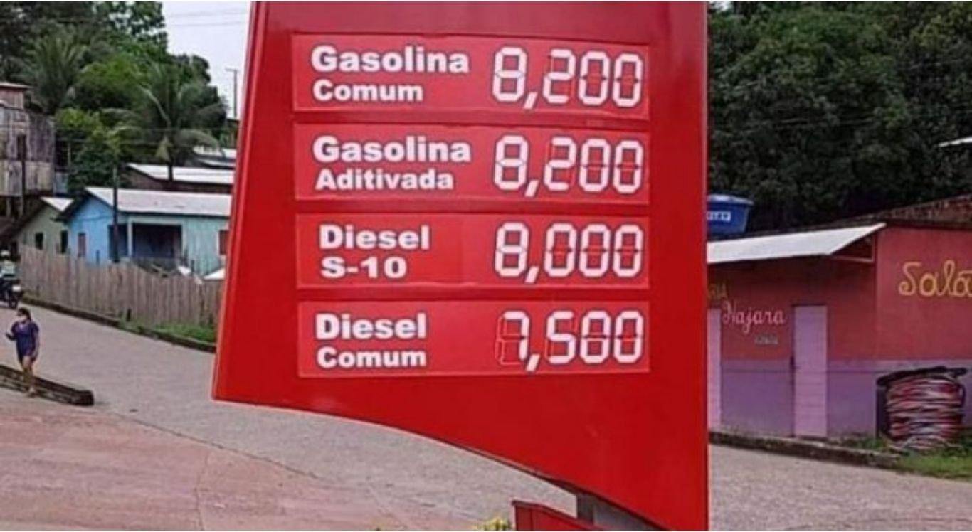 Moradores de Marechal Thaumaturgo (AC) pagam R$ 8,20 pelo litro da gasolina.