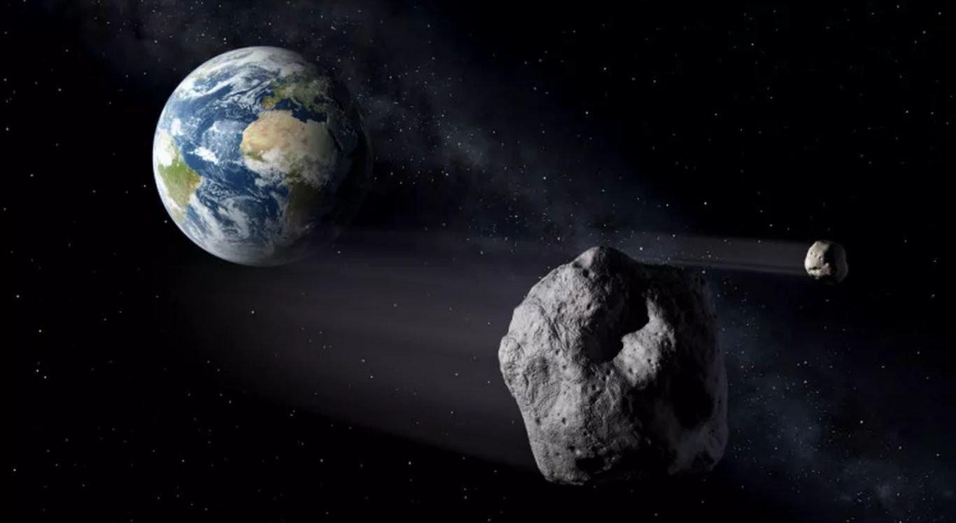 Representação artística de asteroide que passará perto da Terra neste domingo (21).