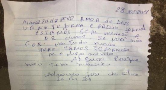Paciente internado com covid-19 escreve bilhete denunciando falta de medicamentos em hospital de Caruaru