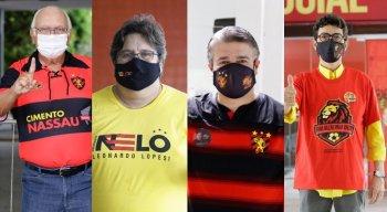 Candidatos à presidente do Sport (E para D): Milton Bivar, Nelo Campos, Delmiro Gouveia e Eduardo Carvalho
