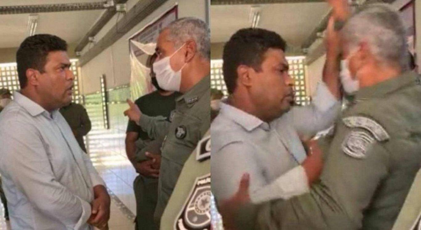 O comandante não quis permitir a entrada do deputado no auditório