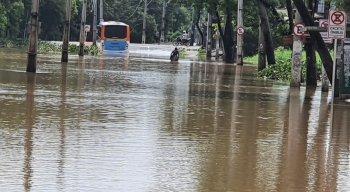 A Avenida Dois Rios apresentou diversos pontos de alagamento