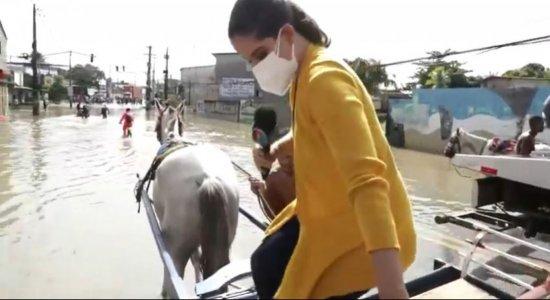 De charrete, equipe de reportagem da TV Jornal mostra pontos de alagamento na Avenida Dois Rios