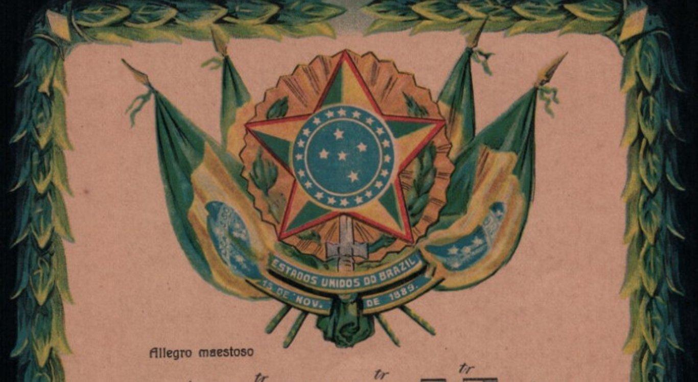 Brasão de Armas do Brasil ornamentando Hino Nacional em partitura para piano em trabalho de Teodoro Braga de 1922