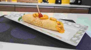 Panqueca de fubá com moqueca de camarão, 3° receita finalista do Cuscuz da Gente e reproduzida pelo chef Rivandro
