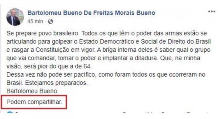 Desembargador Bartolomeu Bueno apagou postagem em que falava sobre articulação de golpe no Brasil