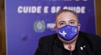 Secretário estadual de Saúde, André Longo, durante entrevista coletiva online