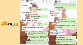 Golpista entrou em contato pelo whatsapp
