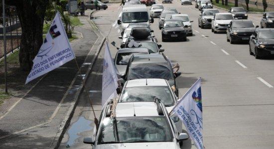 Enfermeiros fazem carreata em municípios de Pernambuco em defesa de projeto de lei que institui piso salarial da categoria