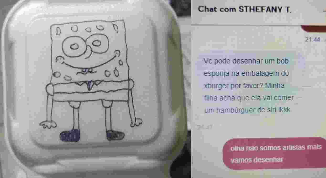 Mãe pede para restaurante desenhar Bob Esponja em embalagem de hambúrguer para filha e foto viraliza