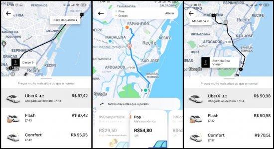 Com chuva torrencial e pico de maré alta no Recife, volta para casa é de preços altíssimos no Uber e outros apps