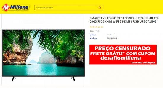 Desafio de Ofertas da Millena Móveis e Eletro oferece TV 50 polegadas com preço incrível