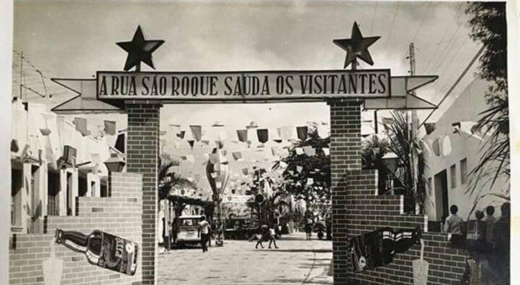 São João de rua - década de 1960. A Rua São Roque, organizada por famílias locais, deu origem à Festa da Rua 3 de Maio.