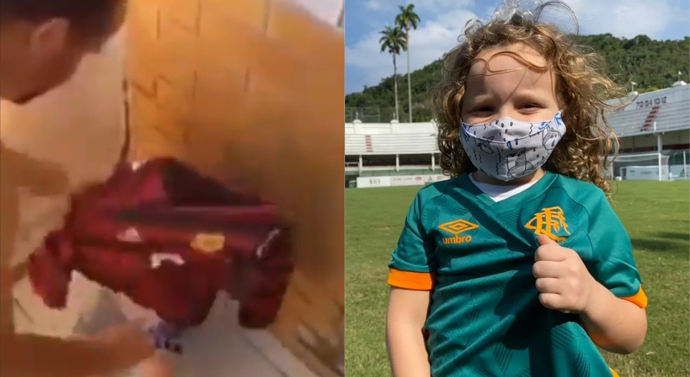 Emanuel ganhou uma camisa do Fluminense depois de viralizar