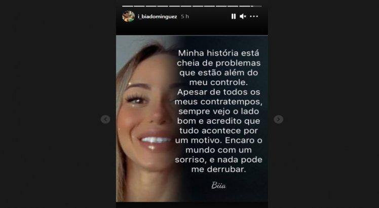 Bianca Dominguez voltou a falar através de seu instagram pessoal nesta terça (25)
