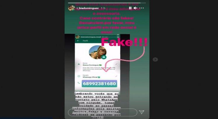 Bianca Dominguez pediu também para que denunciassem falsos números no WhatsApp com seu nome