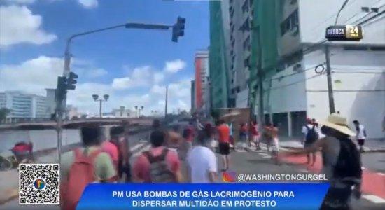 Aglomeração, violência policial e feridos: veja tudo o que aconteceu no protesto contra Bolsonaro no Recife