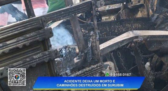 Motorista morre carbonizado após caminhões explodirem em acidente no Agreste