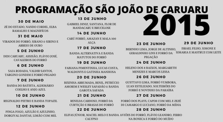 Programação do São João de Caruaru em 2015