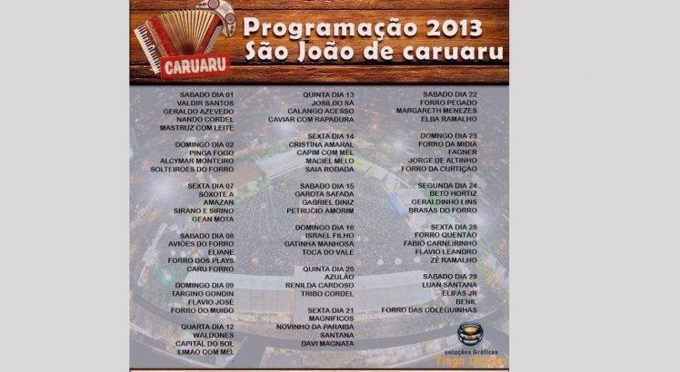 Programação do São João de Caruaru em 2013